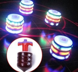 Wholesale toy led flash music - Kids toys fidget spinner Musical Gyro Flash LED Light Colorful Spinning Imitation wood gyro glitter 7 color music light ground toy BBA346