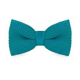 Wholesale Vintage Mens Tie - Hi-Tie F-320 Vintage Bow Ties Mens Neck Tie for Men Business Wedding Suits Pajaritas Hombre Dark Turquoise Solid Knitted Bowtie
