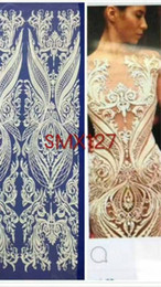 jacquard ribbons trims UK - 2018 high quality african bride lace French renda Lace Fabric For Wedding Embroidery african beads lace fabric 5 yard lot