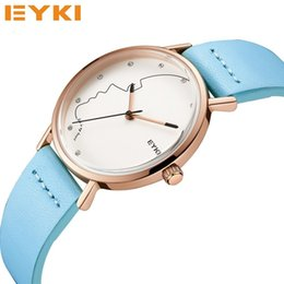 Wholesale Red Sketches - EYKI Couple Head Sketch Dial Couple Watches For Lovers Watch Men Calfskin Leather Waterproof Women Watch Valentine Gift For Men