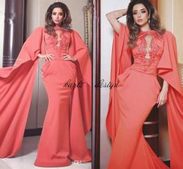 Wholesale Watermelon Mermaid Prom Dressed - Fashion Watermelon Red Dubai Arabic Kaftan Mermaid Evening Dresses 2017 Jewel Neck Long Poet Sleeve Appliques prom Gowns Celebrity Dress