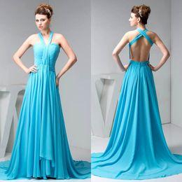 5fca99733d1df wedding dresses for petite hourglass 2019 - Halter Peacock Chiffon  Bridesmaid Dresses Sexy Backless Criss-
