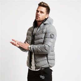 Wholesale Padded Hoodie - Men's Autumn winter new fashionLong sleev line gyms hoodies Sweatshirts Loose coat men wear fitness casual Cotton-padded jacket