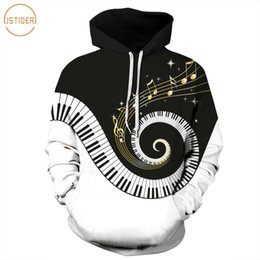 Wholesale Musical Prints - ISTider Fashion New Design Musical Note Piano Keys Print 3D Hoodies Men Women Black White Casual Hooded Sweatshirts Pullovers