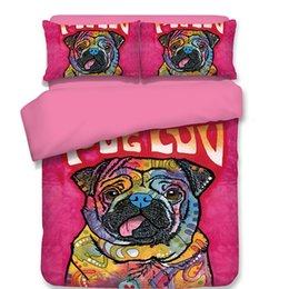Двухместные постельные принадлежности онлайн-Free shipping kids children cartoon pink pug dog for single twin full queen size 3/4pcs bedding set no filler home textile
