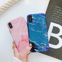 Wholesale pink marbles - Gorgeous Blu-Ray Housing Back Cover Soft TPU Silicone IMD Phone Shell Laser Marble Case for iPhone X 6 6S 7 8 Plus