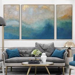 Acrílico pintura paisajes marinos online-3 piezas de pintura abstracta azul marino del paisaje marino en la pared de la lona Imágenes del arte para la sala de estar quadros caudros decoración pintura acrílica