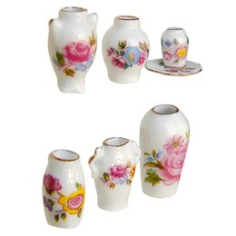 Wholesale Miniature Vases - ABWE Best Sale Dollhosue miniature modern ceramic china porcelain rose vase 7pcs