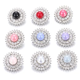Wholesale full metal movie - High Quality Snap Jewelry Full Crystal Pearls 18mm Metal Snap Buttons fit DIY Snap Bracelet Bangles Noosa Buttons