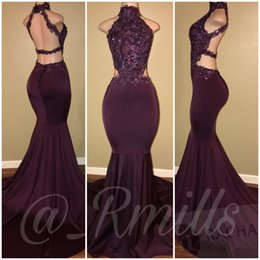 Wholesale Glamorous Blue - Glamorous 2018 Burgundy High Neck Mermaid Prom Dresses Sexy Sleeveless Lace Appliques Backless Cutaway Sides Long Evening Party Gowns