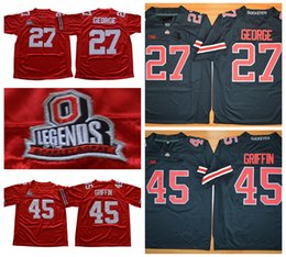 Mens Vintage Ohio State Buckeyes 27 Eddie George 45 Archie Griffin College Football  Jerseys Legends Cheap University Stitched Football Shirt 44676e74d