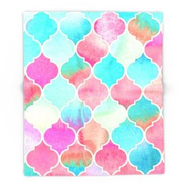 Wholesale Coral Bedspreads - Watercolor Moroccan Patchwork In Magenta, Peach & Aqua Blanket Throw on Sofa Bed Plane Plaids Solid Bedspreads Home Textile