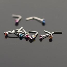 Nariz on-line-Mulheres de Aço Inoxidável Nariz Anéis Rings L Em Forma de Aço Inoxidável Nariz De Cristal Septo Piercing Jóia Do Corpo 20g