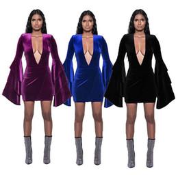 Las mujeres visten 2018 otoño venta caliente profundo V sexy vestido de una sola pieza de gran tamaño 3XL púrpura negro azul partido ropa club nocturno desde fabricantes