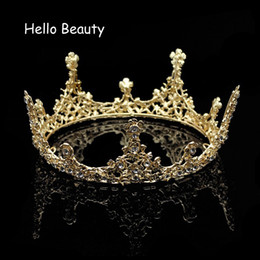 Wholesale full pageant crown tiaras - Gold Color Baroque Vintage Men Diadem Large Crystal Full Round Prom King Crown Wedding Pageant Queen Tiara Bridal Hair Jewelry