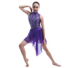 Wholesale dance performance leotard costume - Girls Purple Lyrical Stage Wear Sequins Lace Bodice Leotard Dress,Women Ballet Contemporary Lyrical Performance Dance Costume