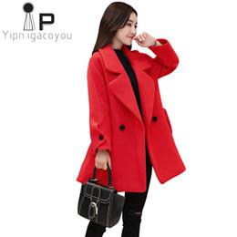 Moda Abrigo de invierno Abrigo de lana Mujer Blend largo s Chaqueta de lana  Mujeres Otoño 2018 Abrigo rojo Mujer Talla grande Negro Abrigo de lana 5f487414670f
