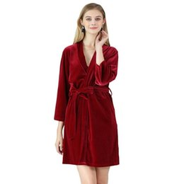 Wholesale Velvet Nightgowns - Women Flannel Velvet Robes Winter Long Sleeved Warm Pajamas Solid Sleepwear Dress Nightgowns Home Clothing C2