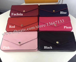 peach sets Promo Codes - Free Shipping Women Genuine Leather Woc Clutch Handbag 64065 Brand Designer 3pcs Set Pochette Bag with Box 61276