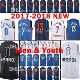 Wholesale Oklahoma City - 2018 New Men's Youth Oklahoma City 0 Russell Westbrook Jersey Thunder 7 Carmelo Anthony 13 Paul George stitching Jerseys Kids adult