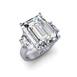 Wholesale Diamond Black Stone Ring - 11.5 ctw Natural Emerald Diamond Simple 3-Stone Engagement Ring I VS1 GIA