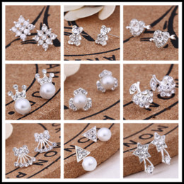 Wholesale gray fairy - Fairy 35 Designs Sliver Plated Faux Pearl Rhinestone Small Studs Alloy Earrings Golden Sliver Black Punk Styles Earrings
