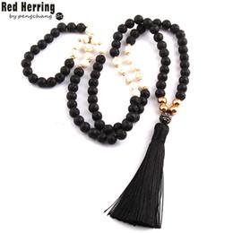 Wholesale Long Tribal Jewelry Necklace - Free Shipping Fashion Black Lava Stones Bohemian Tribal Jewelry Long Black Tassel Necklace For Women