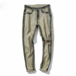 Wholesale Korean Baggy Pants - Men's Pants Men Jeans Heren Baggy Casual Pants Ripped Hole Korean Denim Biker Jeans Khaki GD Slim Fit Pants Do Old Jeans