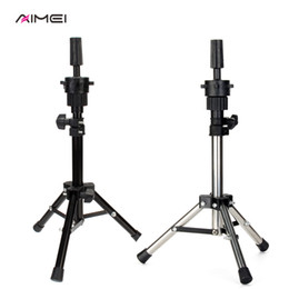 mini wigs Promo Codes - AIMEI Adjustable Wig Tripod Stand Hair Mannequin Training Head Holder Mini Hairdressing Clamp Hair Wig Stand Holder for Cut