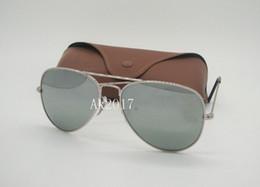 gafas de moda para adultos Rebajas 1 par gafas de sol piloto clásico de alta calidad gafas de sol de metal para hombres para mujer lentes de vidrio de espejo de plata protección UV con caja de caja