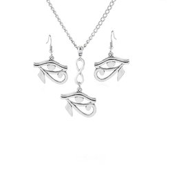 antique jewellery pendants Coupons - 5 sets Antique Silver Eye of Horus Ra Charms Pendants Earring & Necklace DIY Jewellery Sets For Women Girls