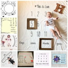 Wholesale washing photos - 16 styles Newborn Photography Props Blanket Letters Numbers Printed Blankets Baby Boys Girls Infant Photo Props Accessories GGA325 15pcs