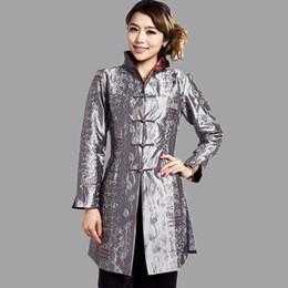 jaquetas estilo chinês mulheres Desconto Atacado-Grey estilo tradicional chinesa Ladies Jacket Mujer Chaqueta Mulheres Cetim Bordado Brasão Tamanho S M L XL XXL XXXL 4XL 5XL Mny001B