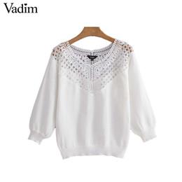 Vadim donna elegante bianco maglia maglioni patchwork pizzo scava fuori tre quarti manica pullover donna casual top HA036
