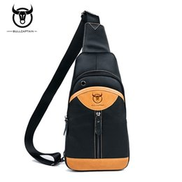 Wholesale Browning Leather Sling - BULL CAPTAIN 2018 Small sling chest bag Brand men causal messenger bag Male Shoulder Bags Fashion Genuine Leather Crossbody Bags