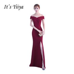 56fdfd52a234 È YiiYa New Off spalla Satin sirena fessura split vestito da promenade  semplice tromba lunghezza del pavimento increspato sesso abito da sera di  lusso X134 ...