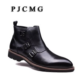 dress ankle boots for men Promo Codes - PJCMG New Arrivale Genuine Leather Buckle Strap Solid Pointed Toe Ankle Dress Boots Men Shoes Male For Qedding Business