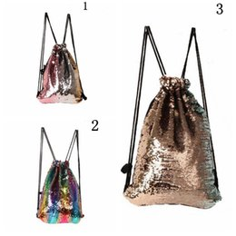 Wholesale Wholesale Gym Drawstring Bags - Mermaid Sequins Drawstring Shoulder Bag Reversible Sequin Backpack Glittering Dance Bag Shopping Travel Sports Gym Bags 50pcs OOA3981