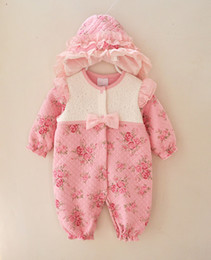 Wholesale Newborn Tutu Sets - Winter Newborn Baby Girl Clothes Thicken Floral Princess Jumpsuit Clothing Sets Girls Bodysuit+ Hats