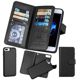 detachable wallet flip case Coupons - For iPhone X 8 PlusBRG Multifunctional Flip Wallet Leather Case Cover Magnetic Detachable 2 in 1 9 Cards Slot S9