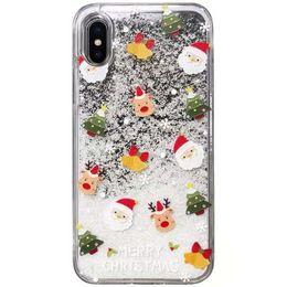 Canada Pour iPhone 6 6 Plus Liquide Cas de Téléphone Étincelant Quicksand Noël Elk Cerf Hiver Neige pour iPhone6 iPhone 7 iPhone8 Glitter Cover Offre