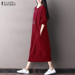 2019 mujeres holgadas sudaderas ZANZEA 2017 Mujeres de la manera de gran tamaño de manga larga de trabajo Vestidos Baggy Maxi largo Pullover Sweatshirt Dress Plus Size Otoño Kaftan mujeres holgadas sudaderas baratos
