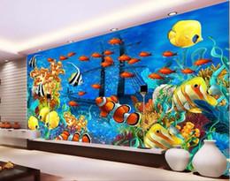 Фрески в океане онлайн-пользовательские фрески современный океан мир тропических рыб фото 3D настенные росписи обои для стен 3d papel de parede para quarto