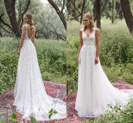 Wholesale Romantic Vintage Dresses - Romantic Limor Rosen 2017 Lace Wedding Dresses Deep V-Neck Sheer Straps Vintage Garden Beach Bridal Gowns Bohemia Wedding Gowns