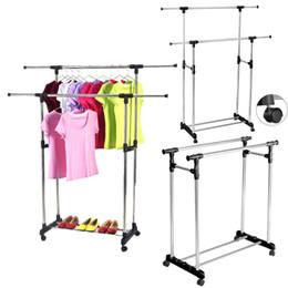 Rieles para ropa online-La ropa portátil ajustable doble resistente seca el carril del estante del balanceo de la suspensión