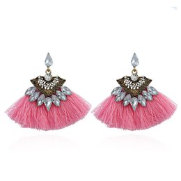 Wholesale fringe charm - Earrings With Long Fringe Fashion Layered Crystal Flower With Drop Tassel And Rhinestone Charm Earrings For Women
