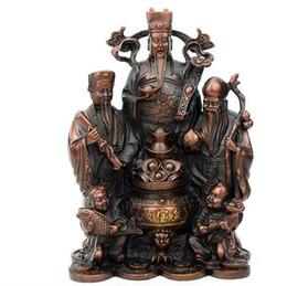 Статуи латунного бога онлайн-Китайский Латунь Богатство Сокровище Чаша Малыш Ребенок 3 Счастливый FuLuShou Бог Бронзовая Статуя