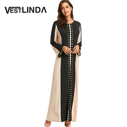 Wholesale Black Color Block Dress - VESTLINDA Lace Insert Color Block Maxi Arabic Dress Autumn Women Cotton Patchwork Round Collar Long Sleeves Robe Female Vestidos