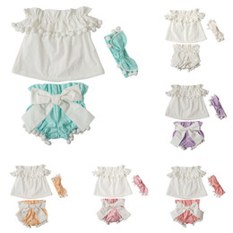Wholesale Baby Bloomers Headbands - Girls Pompom tassel outfits baby headband+Off Shoulder top+bow bloomers shorts 3pcs set 2018 summer suit Boutique kids Clothing Sets C3912
