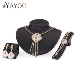 Wholesale vintage gold tassel necklace - Vintage Women African Beads Jewelry Set Bridal Wedding Jewelry Sets Turkish Gold Color Tassel Necklace Jewelery Costume